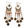 Boho Bronze Coin Multicoloured Bead Dangle Earrings - 10cm Length