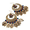 Oversized Filigree Leaf Beaded Chandelier Earrings (Antique Gold) - 9cm Length