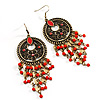 Long Bronze Coral Bead Chandelier Earrings - 10.5cm Drop