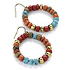 Multicoloured Wood Hoop Earrings - 3.5cm Diameter