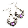 Burn Silver Filigree Diamante Drop Earrings - 5.5cm Length