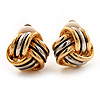 2-Tone 'Knot' Clip On Earrings -15mm Diameter