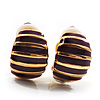 Small C-Shape Stripy Purple Enamel Clip On Earrings (Gold Tone)