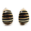 Small C-Shape Stripy Black Enamel Clip On Earrings (Gold Tone)