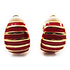Small C-Shape Stripy Red Enamel Clip On Earrings (Gold Tone)