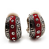 Small C-Shape Greek Style Red Enamel Clip On Earrings (Silver Tone)