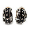 Small C-Shape Greek Style Black Enamel Clip On Earrings (Silver Tone)