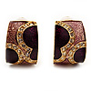 Small C-Shape Purple & Pink Enamel Diamante Clip On Earrings (Gold Tone)