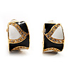 Small C-Shape 'Leaf' Black&White Enamel Diamante Clip On Earrings (Gold Tone)