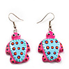 Funky Wooden Turtle Drop Earrings (Deep Pink & Light Blue ) - 4.5cm Length