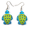 Funky Wooden Turtle Drop Earrings (Light Green & Blue) - 4.5cm Length