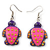 Funky Wooden Turtle Drop Earrings (Deep Pink & Purple) - 4.5cm Length