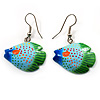 Funky Multicoloured Wood Fish Drop Earrings (Blue, Light Blue & Green) - 3.5cm Length