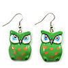 Green Wood Owl Drop Earrings - 4.5cm Length