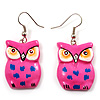 Deep Pink Wood Owl Drop Earrings - 4.5cm Length