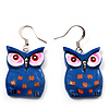Dark Blue Wood Owl Drop Earrings - 4.5cm Length