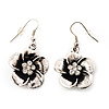 Antique Silver Daisy Flower Drop Earrings - 4cm Length