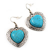 Antique Silver Turquoise Stone Heart Drop Earrings - 4.5cm Drop