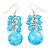 Light Blue Glass Bead Drop Earrings (Silver Tone Metal) - 4.5cm Length
