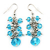Light Blue Acrylic Bead Drop Earrings - 5cm Length