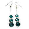 Silver Tone Emerald Green Acrylic Bead Diamante Drop Earrings - 6cm Length
