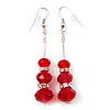 Silver Tone Red Acrylic Bead Diamante Drop Earrings - 6cm Length