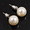 Ivory Lustrous Faux Pearl Stud Earrings (Silver Tone Metal) - 9mm Diameter