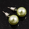 Pale Green Lustrous Faux Pearl Stud Earrings (Silver Tone Metal) - 9mm Diameter