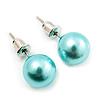 Aqua Blue Lustrous Faux Pearl Stud Earrings (Silver Tone Metal) - 9mm Diameter