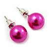 Deep Pink  Lustrous Faux Pearl Stud Earrings (Silver Tone Metal) - 9mm Diameter