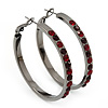 Gun Metal Red Crystal Hoop Earrings - 4cm Diameter