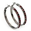 Gun Metal Red Crystal Hoop Earrings - 4cm Diameter