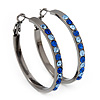 Gun Metal Blue Crystal Hoop Earrings - 4cm Diameter