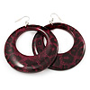 Animal Print Purple Acrylic Hoop Earrings (Silver Tone Metal) - 6cm Diameter