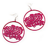 Deep Pink 'Rose & Love' Hoop Earrings (Silver Tone Metal) - 5.5cm Diameter
