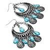 Antique Silver Pale Blue Acrylic Bead Chandelier Earrings - 8cm Length