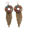 Long Multicoloured Enamel Floral Chain Drop Earrings (Bronze Tone Metal) - 13cm Length