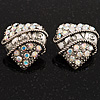 Antique Silver AB Crystal &#039;Love&#039; Heart Stud Earrings -2.5cm Diameter