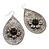 Antique Silver Teardrop Filigree Floral Drop Earrings - 8cm Length
