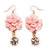 Gold Tone Pale Pink Acrylic Flower Drop Earrings - 6cm Length