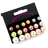 7mm, 9mm, 11mm Multicoloured Pearl Style Bead Set of 9 Stud Earring (Silver Metal Finish)