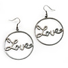Gun Metal 'Love' Hoop Earrings - 4.5cm Diameter