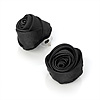 Large Stylish Fabric Rose Stud Earrings (Silver Tone Finish) - 3cm Diameter