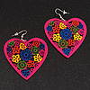 Deep Pink Wood Style Heart Drop Earrings (Silver Tone Finish) - 7.5cm Length