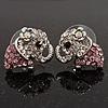 Tiny Crystal Elephant Stud Earrings (Silver Tone Metal)