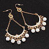 Gold Plated White Bead Chandelier Earrings - 8cm Drop