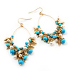 Gold Tone Turquoise Coloured Resin Bead & Imitation Pearl Leaf Hoop Drop Earrings - 8.5cm Length