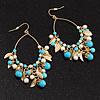 Gold Tone Turquoise & Pearl Style Leaf Hoop Drop Earrings - 8.5cm Length