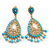 Gold Plated Filigree Turquoise & Pearl Style Chandelier Earrings - 7cm Drop