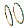 Gold Plated Turquoise Style Bead Hoop Earrings - 6.5cm Diameter